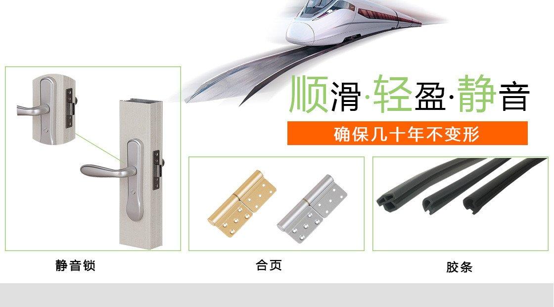 1.4银海铝合金平开门80系列-电氟黑的静音锁,合页,胶条优点