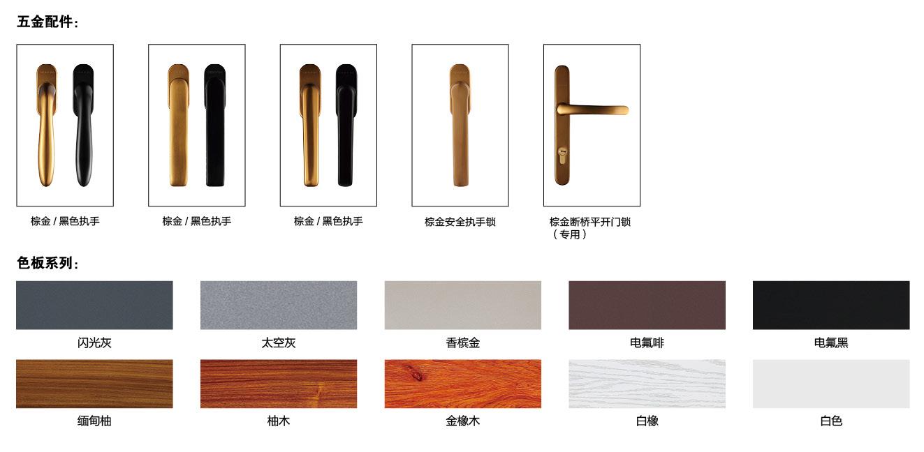 68/118断桥铝平开窗-缅甸柚的执手锁与其它颜色种类