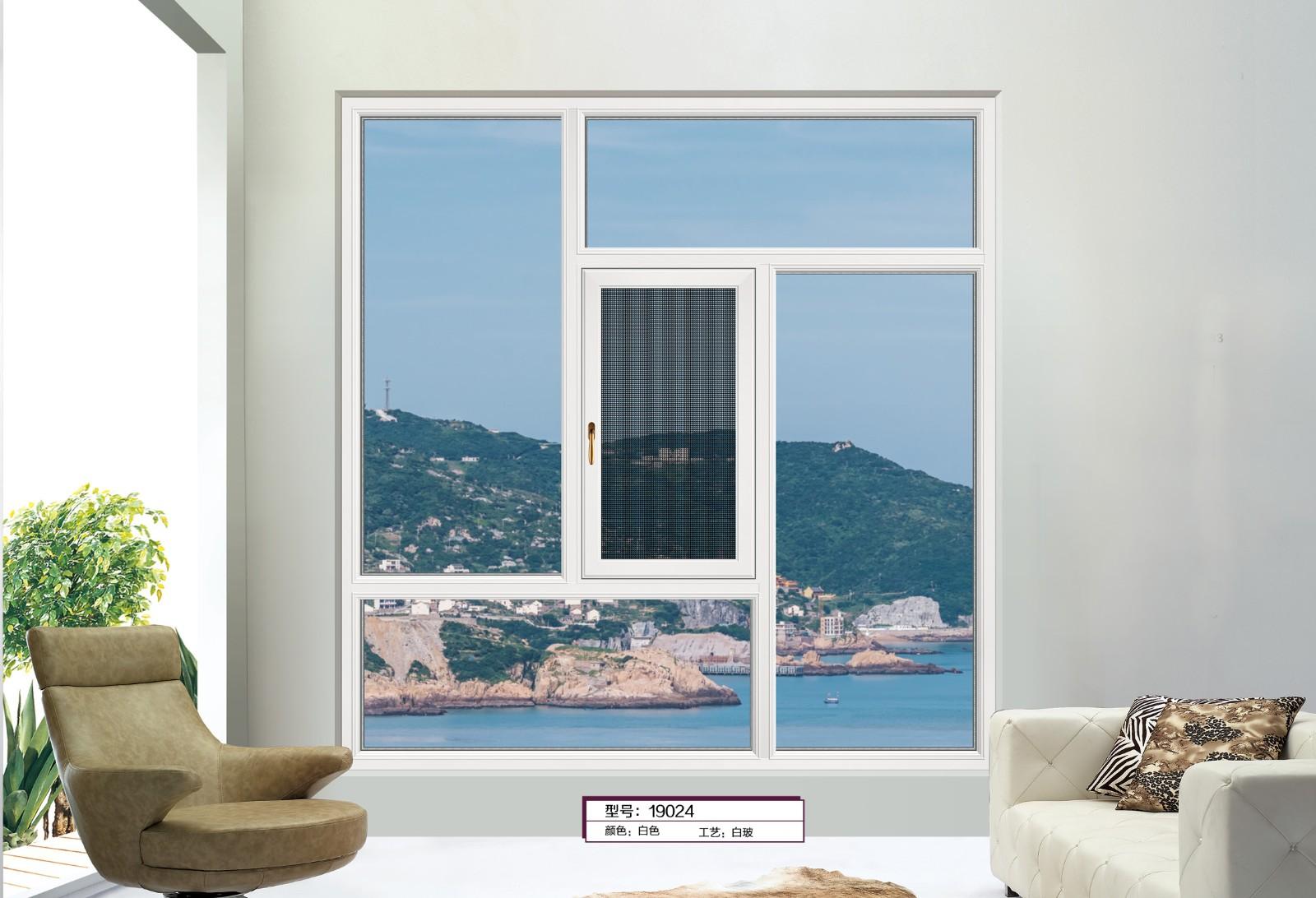 68/118断桥平开窗-白色的效果图